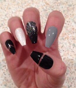Image Is Loading Hand Painted False Nails Black Grey White Glitter