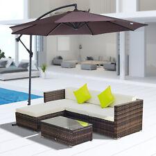 6Pcs Rattan Sofa Furniture Set With Cantilever Parasol Patio Outdoor w/ Cushion