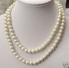 """Pretty 8mm white natural South Sea Shell Pearl round necklace 50"""" AAA"""