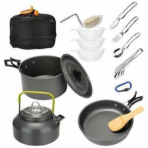 """Mokoala 15Pcs Camping Cookware Mess Kit Lightweight Pot Pan Kettle with 6"""" St..."""