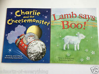 2 x Young Childrens Books Charlie Cheesemonster & Lamb Boo - Toddler 26 x 21cm