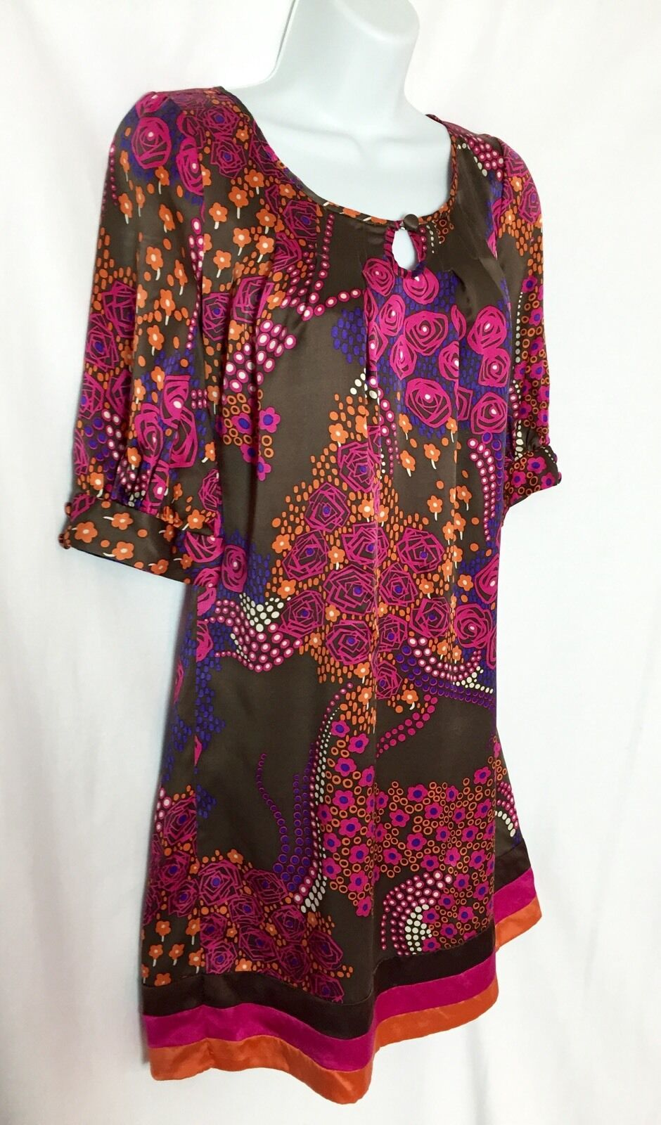 Calypso St Barth Christine Celle SILK Brown Pink Floral Print Dress Small