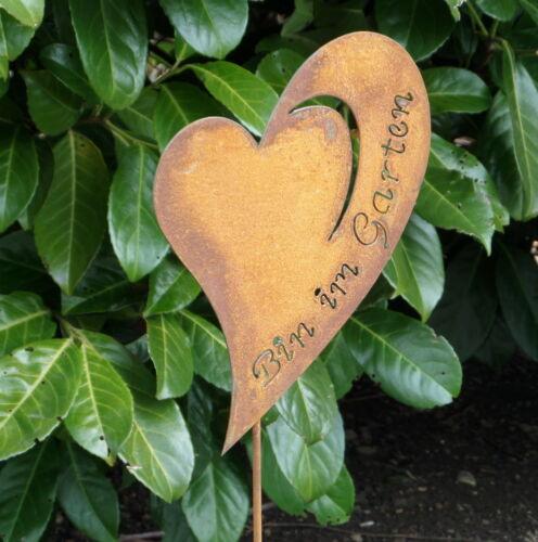 Gartendeko Gartenstecker Beetstecker Edelrost Herz Garten