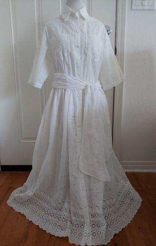 Vintage 80s Eyelet Dress Bonnie Strauss Size L Rea