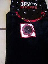 48 IN BLACK VELVET RED PLAID SCALLOPED TREE SKIRT CHRISTMAS DECORATION PATRIOTIC