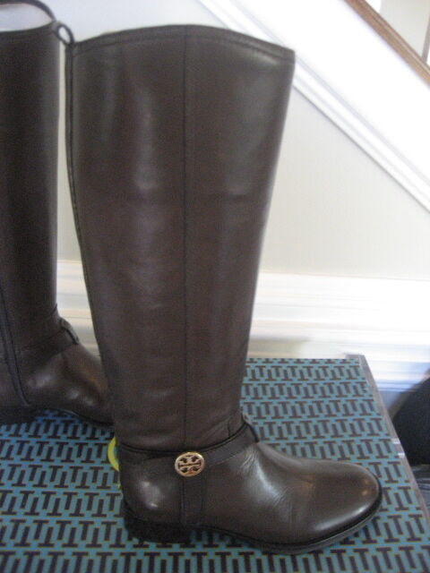 NIB Tory Burch Bristol Brown Coconut Gold Leather Riding Boots Tall Size 7.5