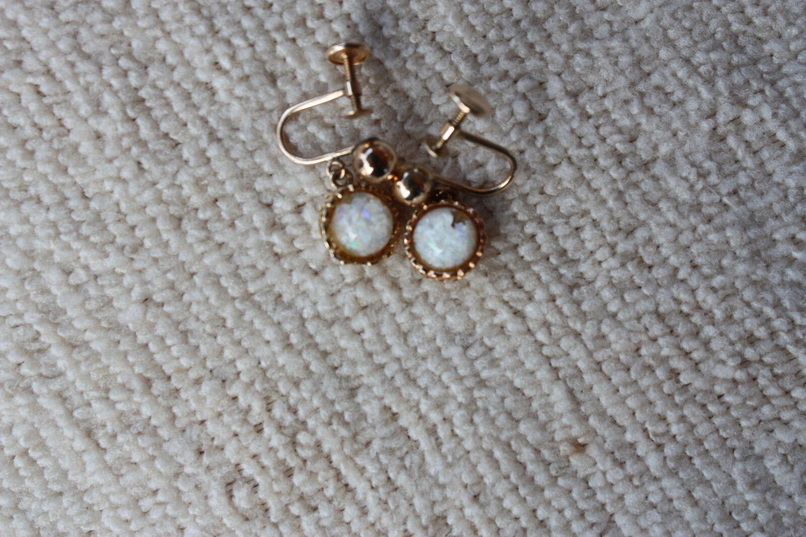 VTG 14k GOLD  Opal Clip on   EARRINGS - image 4