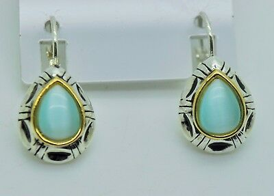 Earrings Chic Style Tear Drop Shape Aqua Cat Eye Dangle Fashion French Clip Earrings M44 Making Things Convenient For The People