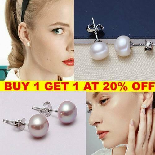 925 Sterling Silver Genuine Cultured Freshwater Pearl Stud Earrings Studs Gift