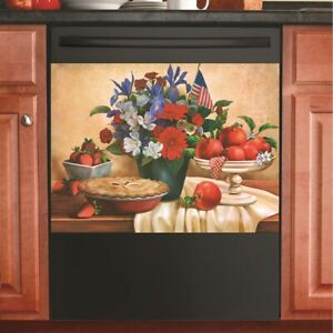 Patriotic 4th July Bouquet Flowers w/ Apple Pie Kitchen Dishwasher Cover Magnet
