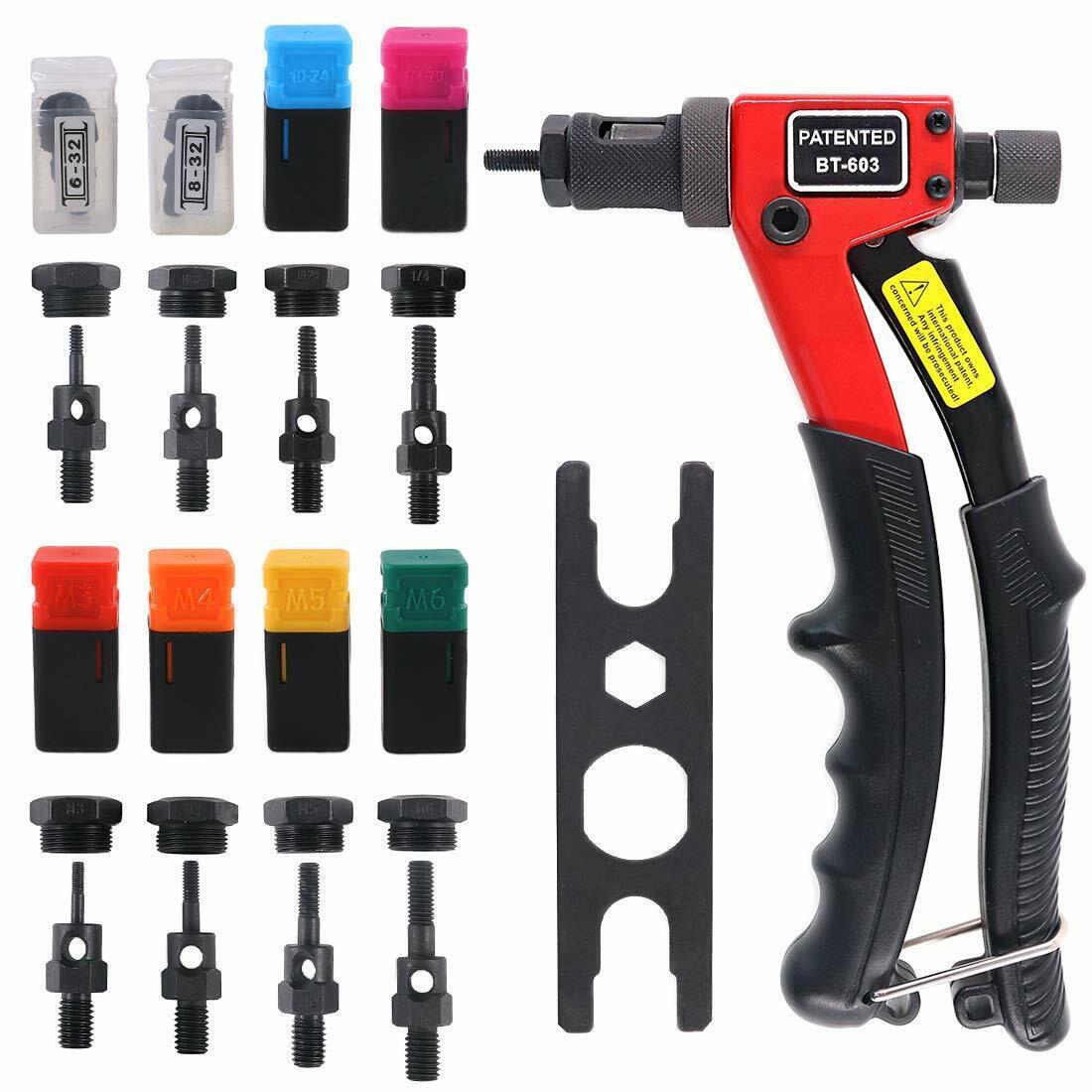 Rivet Nut Gun Metric & SAE Pop Hand Riveter Tool Nut Setter Kit Setting System