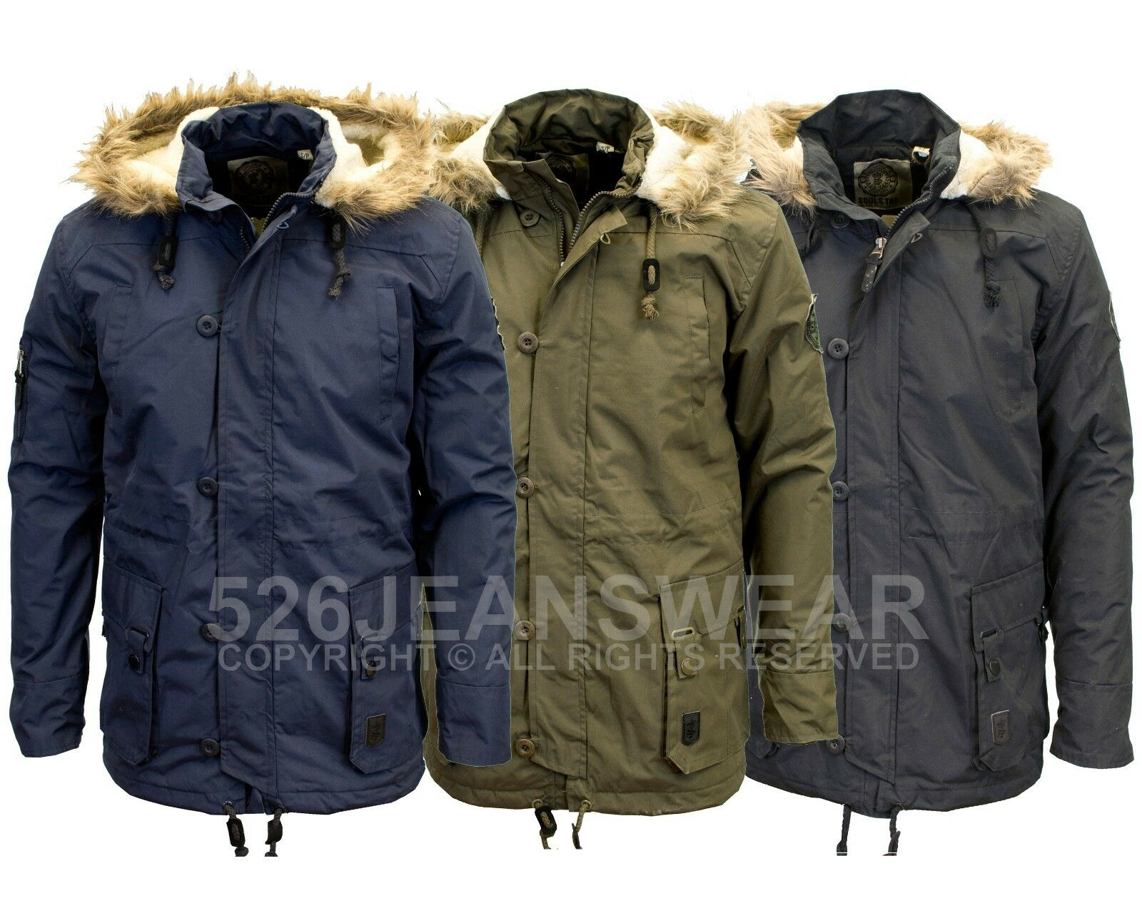 Soulstar Mens Designer Branded Winter Warm Hooded Parka Coat, BNWT