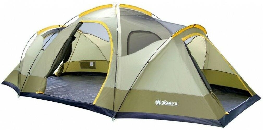 8 Person Dome Camping Tent GigaTent Wolf Mountain 3 Rooms 4 Windows Carry Bag