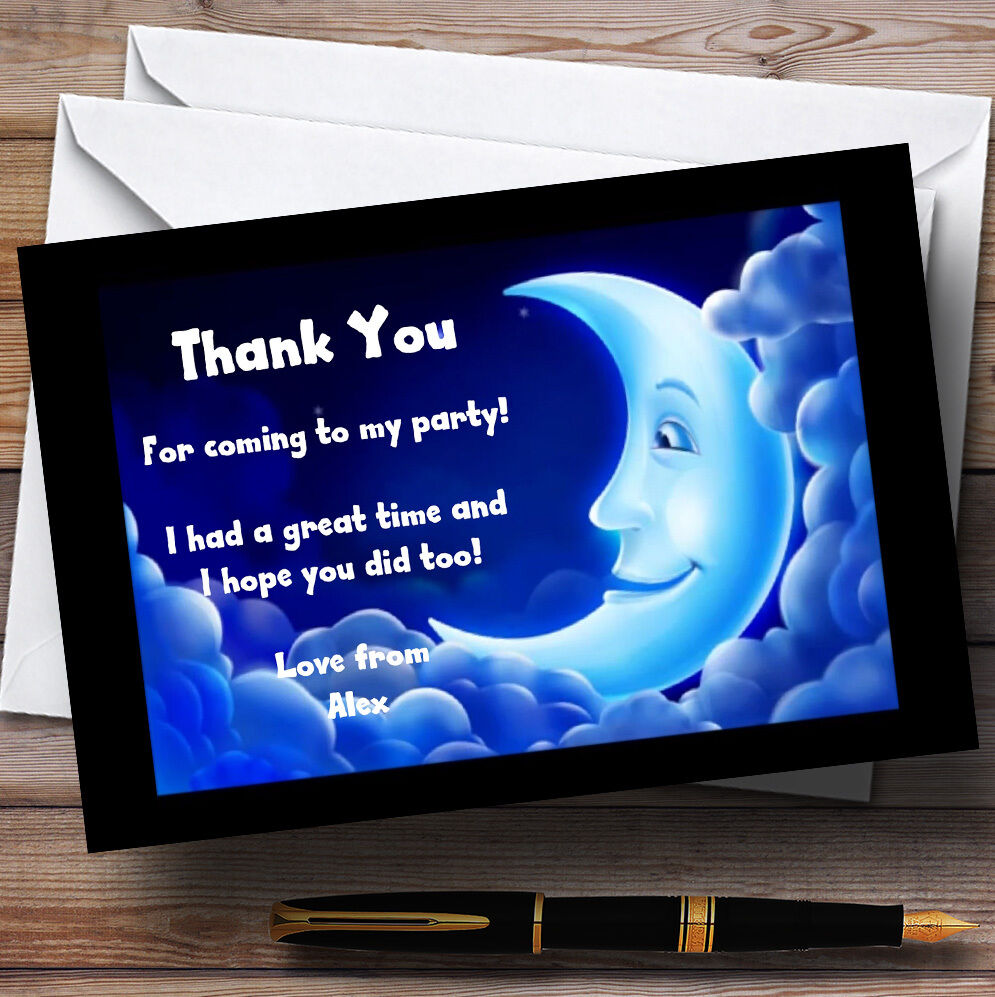 Moon slumber slumber Moon sleepover pyjamas Personnalisé partie cartes remercieHommes t 96867d