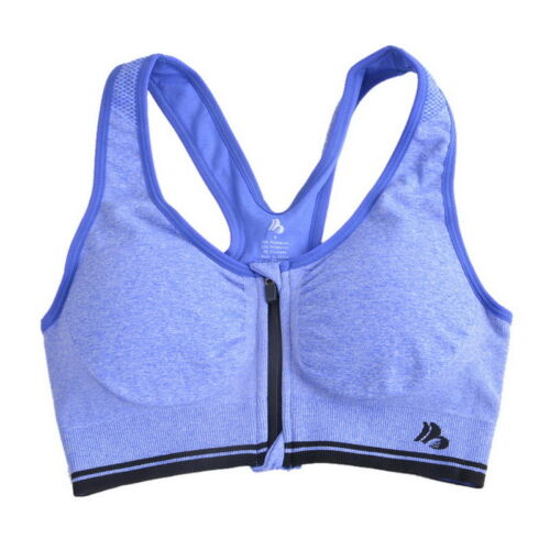Women Padded Sports Bra Front Zip Yoga Gym Workout Running Vest Shapewear New GW