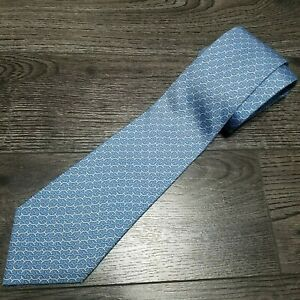 HERMES-Paris-Neck-tie-100-Silk-5481-FA-H-Logo-link-patter-All-over-print-blue