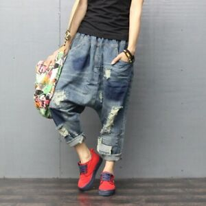 Casual-Womens-Denim-Ripped-Drop-Crotch-Baggy-Jeans-Harem-Trousers-Retro-One-Size