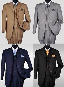 New-Men-039-s-3-piece-Milano-Moda-Elegant-and-Classic-Stripes-Suit-4-Colors-5267v