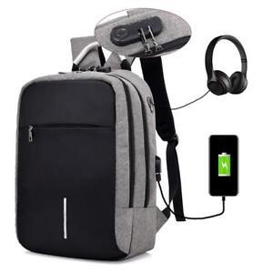 Anti-robo-Mochila-Bolsos-Escolar-USB-Carga-Gran-Capacidad-Mochila-de-hombro