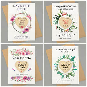 Save-The-Date-Cards-Magnets-PERSONALISED-Rustic-Floral-Wooden-Save-The-Dates