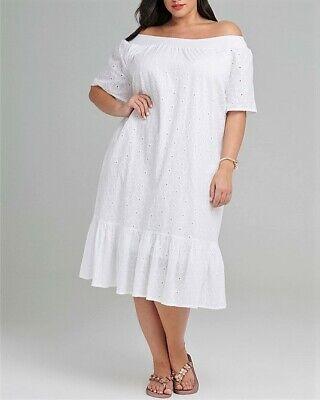 TS Plus Size Taking Shape White Off The Shoulder 100% Cotton Dress Size 18    eBay