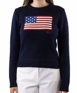 Image is loading Polo-Ralph-Lauren-American-Flag-Sweater-Hunter-Navy-