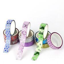 10pcs/Set Self Adhesive Glitter Washi Masking Tape Sticker Craft Decor 15mmx3m