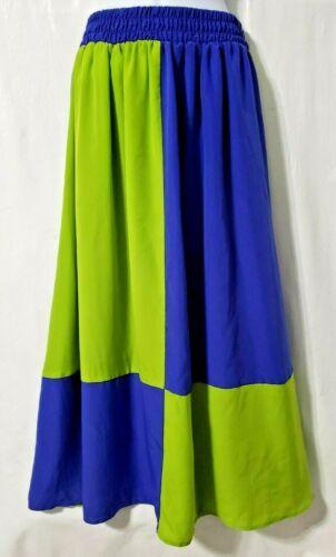 Caron Maxi Skirt M Blue Neon Green Color Block A-l