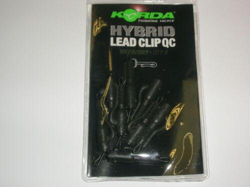 Silt 8pk Carp fishing tackle Korda Hybrid QC Lead Clip Weed