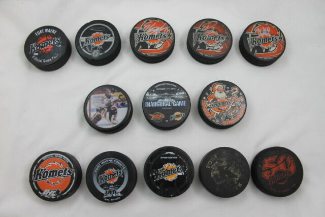 13 Assorted KOMETS Hockey Pucks Some Signed IHL UHL ECHL Fort Wayne Ice Hockey