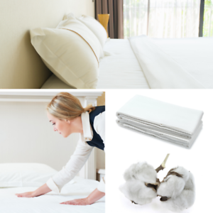 Hotel-Bettlaken-Betttuch-Laken-160x220-cm-weiss-100-Baumwolle-160g-m-ohne-Gummi