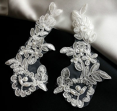Pair of White Beaded Sequined Floral Embroidery Applique Motif Trimmings  EB0080