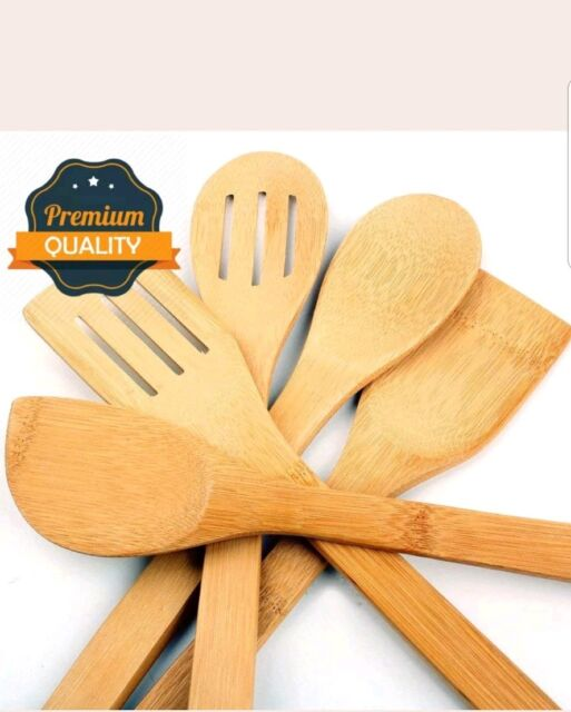5 x Piece Bamboo Wooden Kitchen Cooking Utensils Set Tools Spatula Spoon Turner