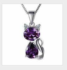 "18"" Sterling Silver Purple Amethyst Cat Cubic Zirconia Pendant Necklace Gift Box"
