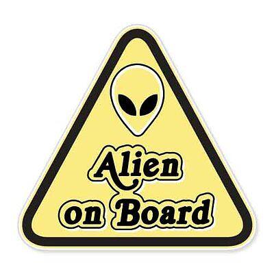 "Alien On Board Funny car bumper sticker decal 4"" x 4"""