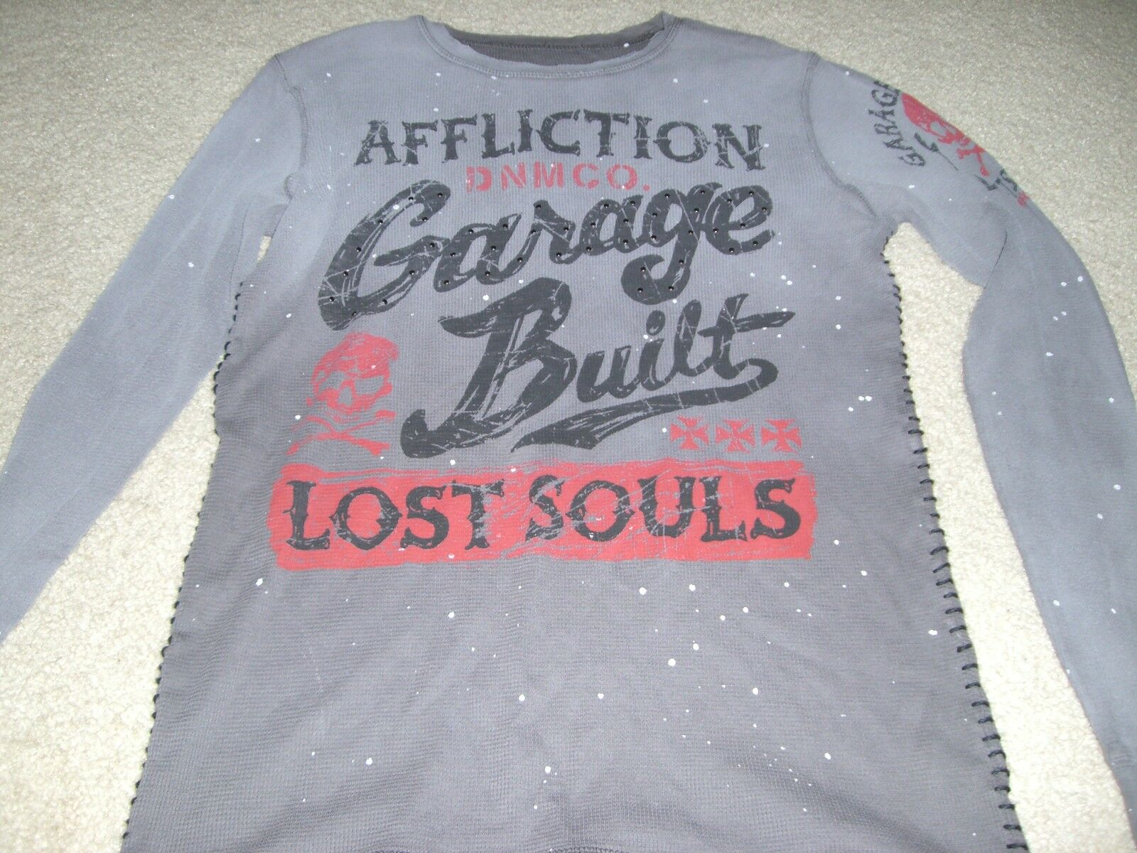 AFFLICTION MENS GARAGE BUILT LOST SOULS THERMAL SHIRT S