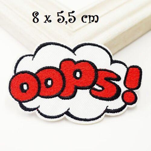 Nuage mot OOPS  Rouge ** 8 x 5,5 cm ** Applique thermocollante ÉCUSSON PATCH