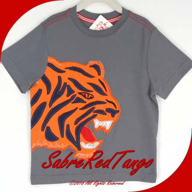 NWT HANNA ANDERSSON GET APPY APPLIQUÉ TEE TOP SHIRT ANTWERPGREY TIGER 80 10-24 M