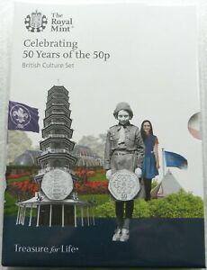 2019 cultura britannica 50p Cinquanta Pence 5 MEDAGLIA Set Kew Gardens FIOR