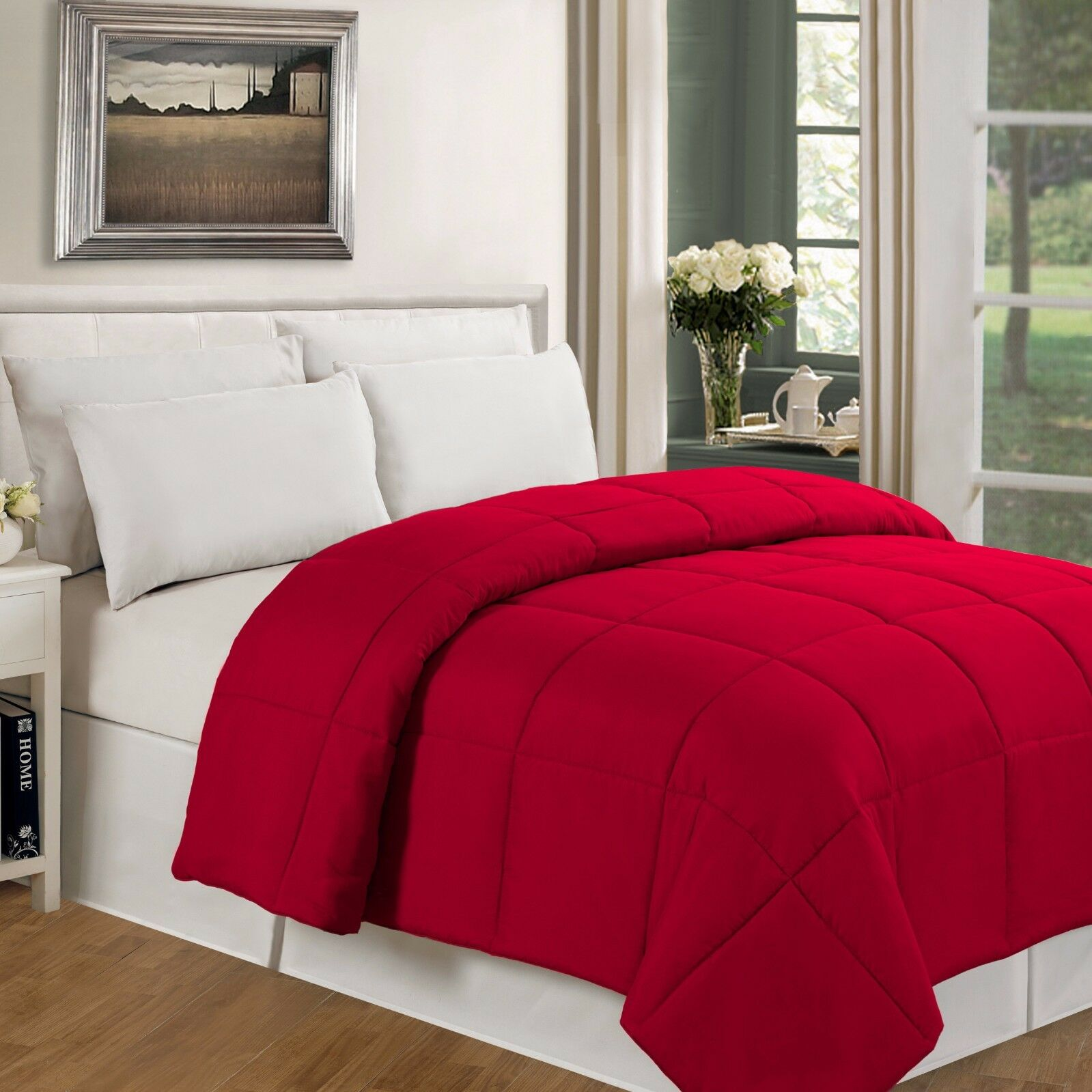 SUPER SOFT LUXURIOUS ALL SEASON WARM DOWN ALTERNATIVE BAFFLE COMFORTER rot NEW