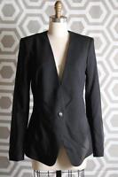 Helmut Lang In Seam One Button Blazer 10 $598 Smoking Wool Black