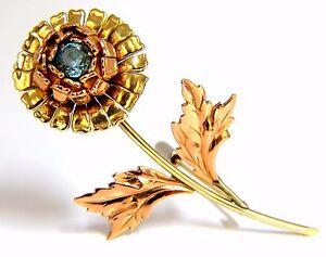 Vintage-1-75ct-natural-Indigo-Zircon-Flower-Pin-14kt-3D