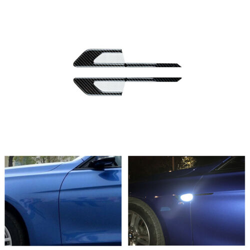 4 Carbon fiber Reflector Side Wing Air Flow Fender Grill Protection Guards Strip