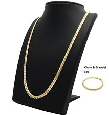 14k Mens Miami Cuban link Chain & Bracelet Set Gold Plated 5mm Necklace