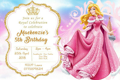 Personalised Sleeping Beauty Princess Aurora Birthday Party Invites Envs SB2