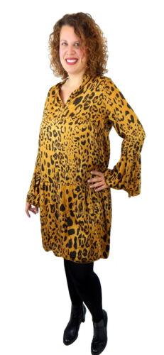 L Made in Italy Ella Jonte Leopard Kleid curry gelb Leo Tunika 42-44 Größe M