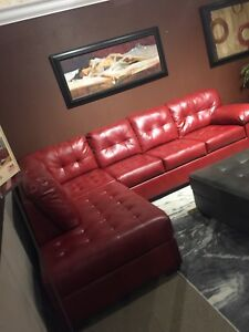 Fabulous Details About Red Sectional Sofa Set Alliston Durablend Caraccident5 Cool Chair Designs And Ideas Caraccident5Info
