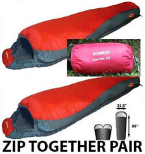 SPECIAL 1 PAIR (2) 20 DEGREE MUMMY SLEEPING BAGS NEW ONLY $89.95 PLUS FREE SHIP