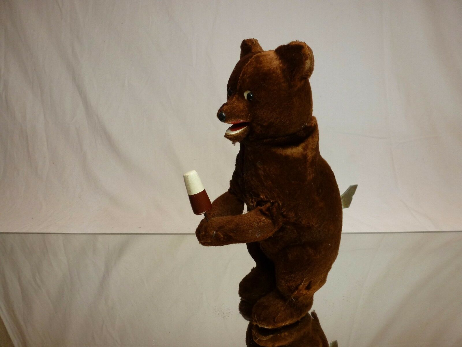 VINTAGE ANTIQUE 60's MOHAIR RUSSIAN USSR WIND-UP BEAR - H24.0cm - EXTREMELY RARE