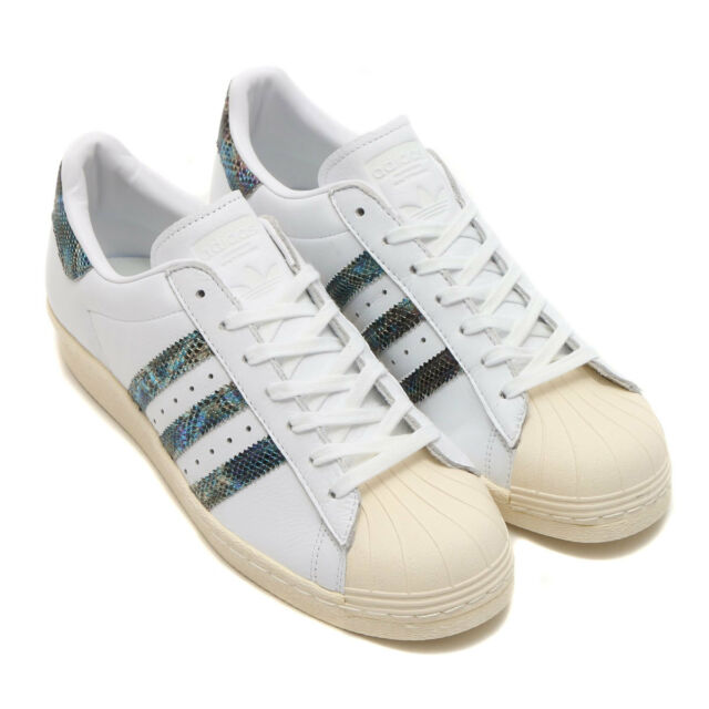 d6ade5d76f30 ADIDAS ORIGINALS SUPERSTAR 80S LEATHER WHITE SNAKESKIN MENS SHOES SIZE 11  BZ0148
